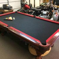 8'x4' Championship Slate Pool Table, Light & Accessories
